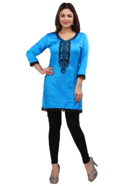 Nylon Silk Embroidered Kurtis Wholesale Rate EYON 05A